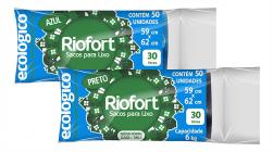 Saco para lixo fino 30litros 59x62 preto Riofort c/50
