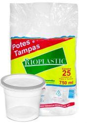 Pote plastico redondo 750ml c/tampa Rioplastic C/500