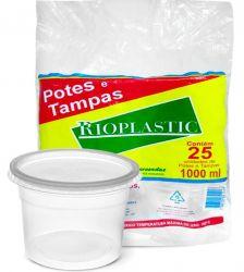 Pote plastico redondo 1000ml c/tampa Rioplastic C/300