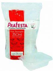 Pote plastico Retangular 250ml c/tampa Prafesta C/144