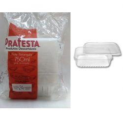 Pote plastico Retangular 750ml c/tampa Prafesta C/144