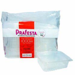 Pote plastico Retangular 1000ml c/tampa Prafesta C/144