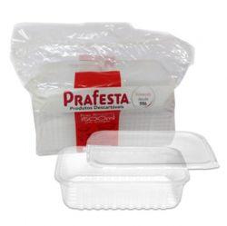 Pote plastico Retangular 1500ml c/tampa Prafesta C/120