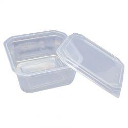 Pote plastico Quadrado 150ml c/tampa Prafesta C/300